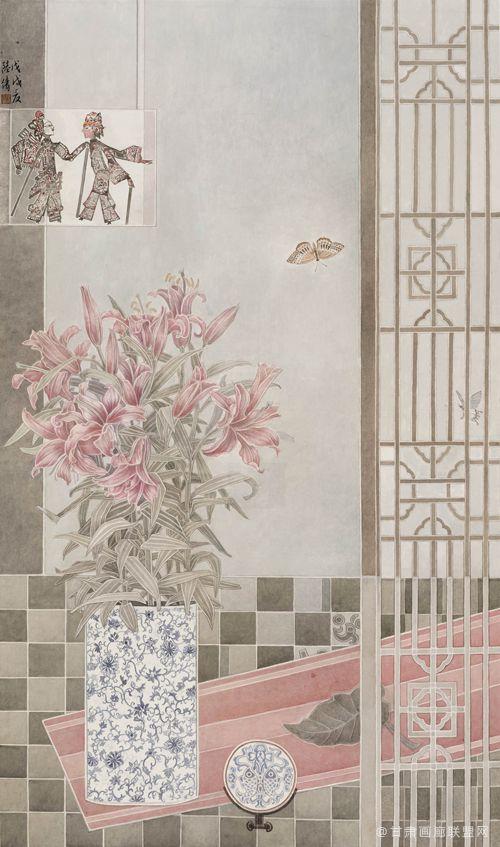靛瓷藏花之闲堂系列一138cmx68cm
