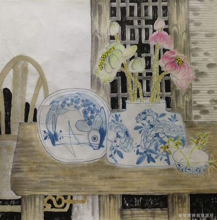青花瓷系列之二 丛莲作品