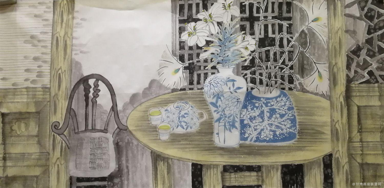 青花瓷系列之五 丛莲作品