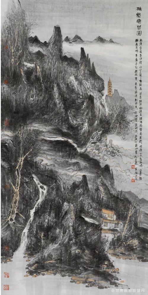 于军福作品《林壑云泉图》