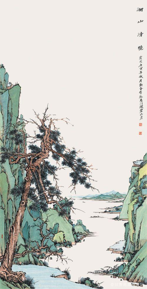 刘艳会作品 武陵源系列之《湖山清晓》136cm×68cm