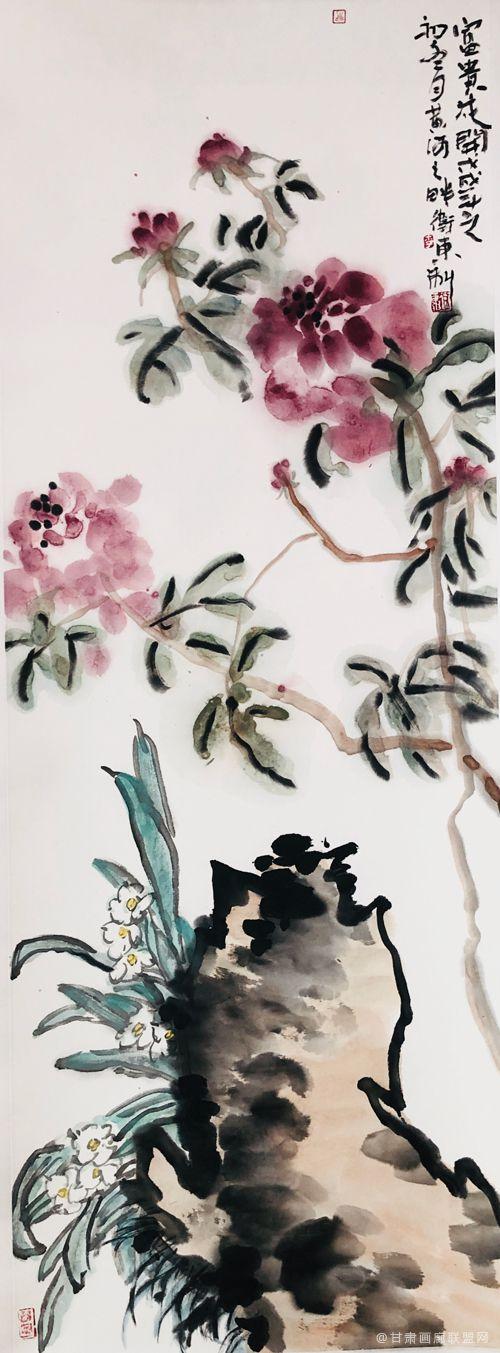 《富贵花开》136cm×34cm-李卫东-作