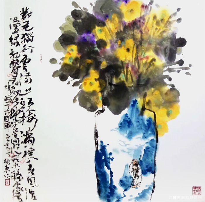 《对花独行》78cm×78cm-2017年-李卫东-作