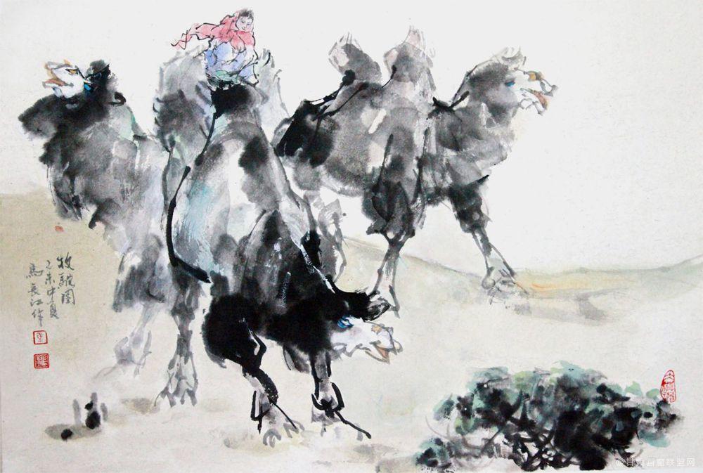 《牧驼图》马长江 作